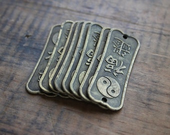 Vintage Yin Yang Brass Tags, Chinese Lettering, Assemblage Supplies, Boho Chic Metal Tags
