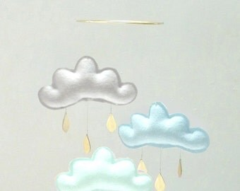 """Bestseller :Mobile """"KYLIAN"""" Light grey,Light blue, Arctic mobile for nursery with gold star by The Butter Flying-Rain Cloud Mobile Nursery"""