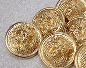 Gold Lion Metal Buttons 22mm - 7/8 inch Bright Gold Vintage Roaring Lion Buttons - 6 or 10 VTG NOS Carved High Relief Gold Lion Buttons MT75