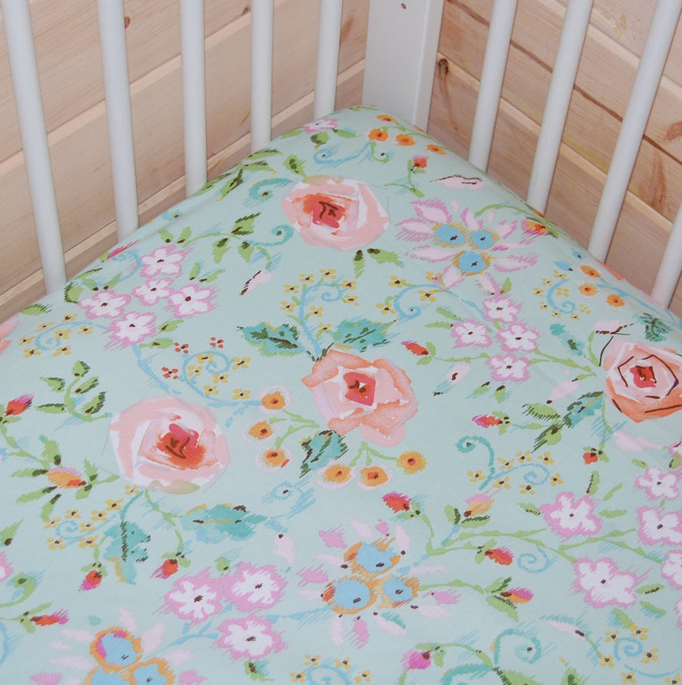 baby girl bedding floral crib sheet pink baby bedding fitted. Black Bedroom Furniture Sets. Home Design Ideas