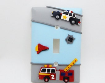 Police Car and Fire Engine Light Switch Cover or Outlet Cover - Heros Police Nursery  - Firemen Nursery - Children's Transportation Room