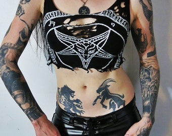 Hell Couture Black & White Pentagram Crop Top