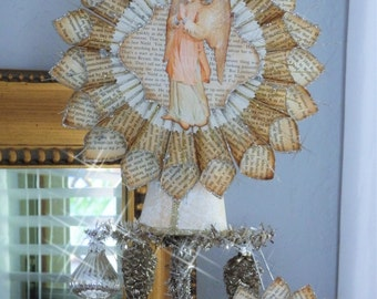Tree Topper, Vintage Cream Colored Angel made from Book Pages by Stacy Marie