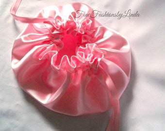 Bridal Pouch, Pink Satin, Flower Girl Purse, Large Petal Bag, For The Bride, Bridesmaid Bag, No Pockets, Ready To Ship