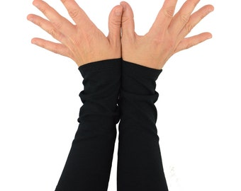 Arm Warmers in Midnight Black - Long Cuffs - Fingerless Gloves - Sleeves
