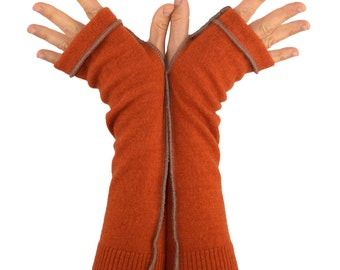 Arm Warmers in Autumn Orange Merino - Upcycled Felted Wool - Fingerless Gloves