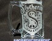 Slytherin Etched Stein / Beer Mug Harry Potter Hogwarts house