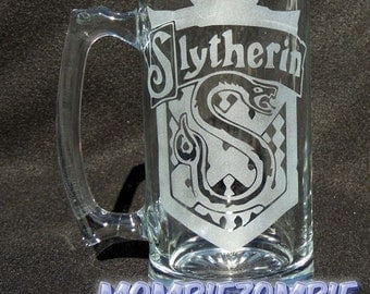 Slytherin Etched Stein / Beer Mug Harry Potter Hogwarts house