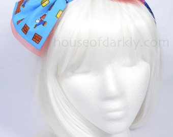 Geeky Headbow: Mario Brothers adorable print fabric bow on headband (clip available)