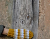 Knit mittens, mustard yellow with white and beige color stripes