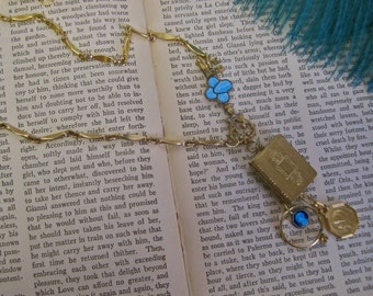 The Book of Love: Locket Necklace Religious Choker Engraved BOOK Locket OPENS Vintage Assemblage Enamel Symbols Key Vintage Ring 2 Photos