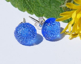 Transparent blue handmade lampwork glass earrings with sterling silver posts