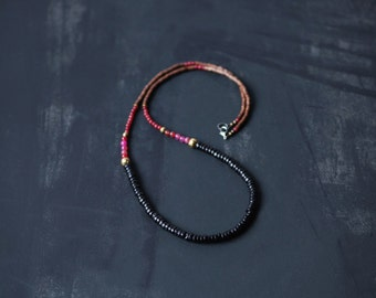 Mixed Media Boho Necklace Pink Agate Black Brown Gold