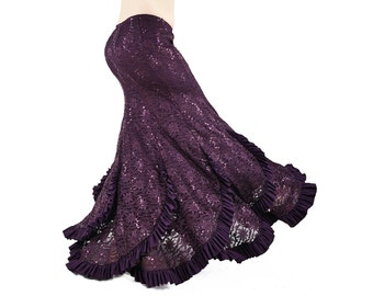 Sirena Skirt Purple Lace and Sequin Mermaid Skirt