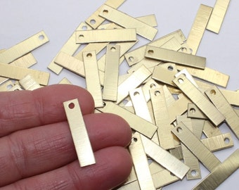 "Gold Rectangle Stamping Blanks, 20+ 1"" x 0.25"", Brushed & Anodized Aluminum Discs, 20 Gauge Small, Vertical Rectangles, One 2mm Hole"