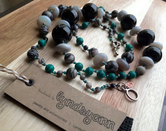 Grey/Black/Green Long Necklace