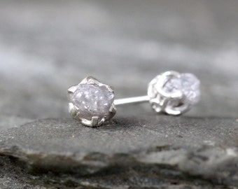 1 Carat Raw Diamond Earrings - Sterling Silver Filigree Inspired - Stud Earring - April Birthstone - Uncut Gemstone - Conflict Free Diamonds