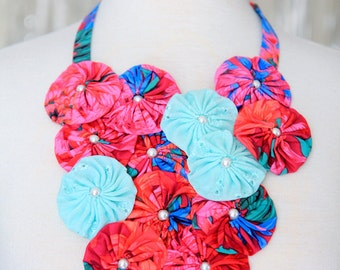 Statement Necklace with Red and Mint Flowers with Pearls - Unique Tropical Flower Bib - Island Style Jewelry