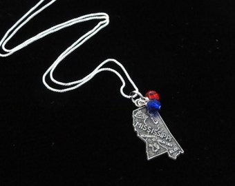Ole Miss Rebels Necklace- Vintage Sterling Silver Mississippi Map Charm- Pendant with Red & Blue Beads- Mississippi Necklace Jewelry Gameday