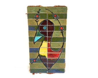 Mid Century Bird Art Pottery Tile wall hanging~ Unique colorful modernist original art piece~ Signed WJW