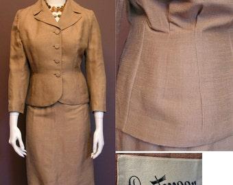 1950s Vintage Café au Lait Tailored Silk Suit SZ S-M
