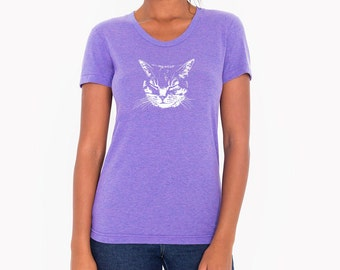 Purple Cat Shirt, Women's Clothing, Cat T-shirts, Kitty Shirt, Kitten Shirt, Cat T-shirt, Cat tee, Cat lover gift, Kittens Kitty Cat Shirt