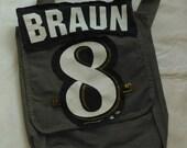 Inventory SALE! was 36 dollars. Canvas messenger bag, gray. Braun Brewers. Birthday, Baby shower, grandchild, teacher Christmas gift.