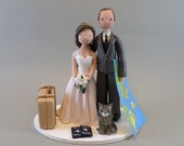 Bride & Groom Customized Travel Theme Wedding Cake Topper - reserved for amandakay0819