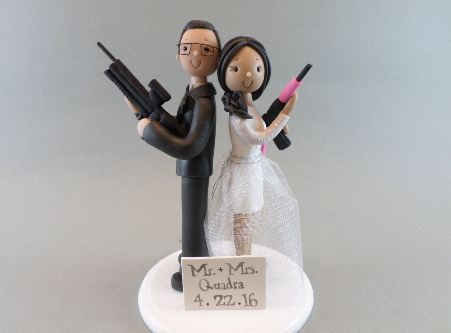 Cake Toppers Bride & Groom with Rifles Personalized Wedding