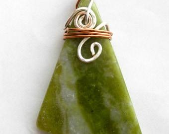 Irish, Connemara Marble Pendant or Ornament.  Silver & Copper. Mountain Source