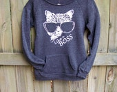 Funny Sweatshirt, Cat sweater, Like a Boss, crazy cat lady, cat shirt, slogan sweater, off the shoulder, womens sweatshirt, slouchy sweater