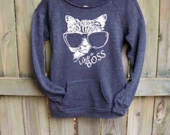 Off the shoulder, Cat shirt, Funny Sweatshirt, cozy sweater, Like a Boss, teen sweatshirt, crazy cat lady, cozy sweatshirt, womens sweater