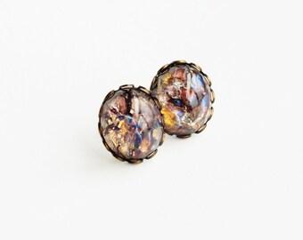 Amethyst Opal Stud Earrings Vintage Domed Glass Earrings Amethyst Earrings Purple Fire Opal Post Earrings Hypoallergenic Amethyst Studs