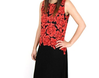 Red and Black Sheer 90's Rose Dress