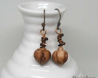Cocoa seed pod earrings, chocolate brown polymer clay rustic dangles, botanical jewelry