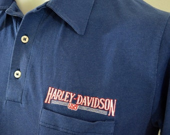 last chance Vintage HARLEY DAVIDSON polo button up USA made 1980's Medium embroidered