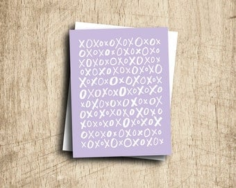romantic valentine card best friend card xo X O hugs and kisses lavender purple handlettering love you anniversary card valentines day gift