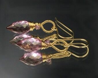 Mystic Pink Mauve Earrings, Wire Wrap Mystic Pink Mauve Quartz Earrings, 14k Gold Fill Minimalist Jewelry, Simple Everyday Earrings