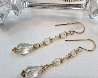 Clear Crystal Quartz Dangle Earrings - Wire Wrap Rock Crystal Gold - Handmade Clear Quartz Gemstone Jewelry, Minimalist Jewelry