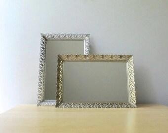 golden brass antique vanity mirror tray