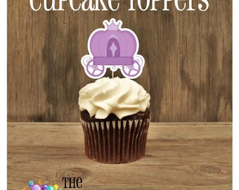 Fairytale Party - Set of 12 Purple Carriage Cupcake Toppers by The Birthday House