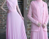 Vintage 1960's 70's Pink High Neck Maxi Pleated Party Dress with Matching Jacket - Small Medium