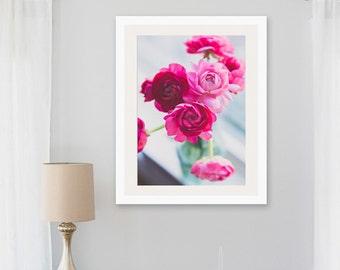 pink nursery decor, ranunculus print, hot pink ranunculus, entryway decor, ranunculus bouquet, rustic kitchen decor, shabby chic, wall art