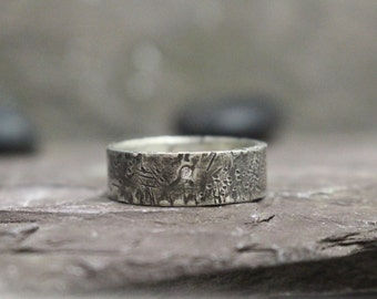 Flush Set Diamond & Distressed Sterling Silver Band, Made to Order