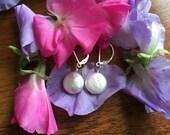 White Coin Pearl Earrings , Pearl Earrings , White Bridal Earrings , Coin Pearl Earrings by SherriGallagher on etsy