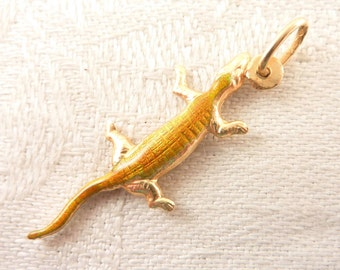 Vintage Yellow Orange Enamel 14K Gold Lizard Charm or Pendant