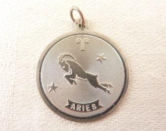 Vintage Sterling Aries Zodiac Medallion Charm