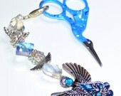 Cross Stitch, Needlepoint Scissor Fob - Blue colored beads with Angel charm keyring