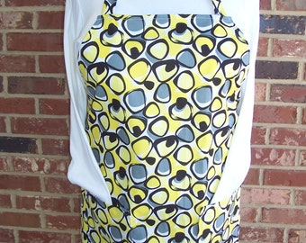 Plus Size Apron, Women's Full Apron, Retro Lemon Yellow Circles, Grey and Black Apron, Pocket Apron, Bib Apron, Kitchen Apron, Yellow Apron
