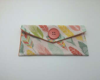 Colorful Bohemian Feathers Pouch/Wallet - Custom
